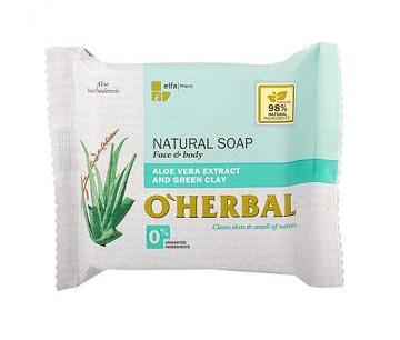 O'Herbal Natural ALOE VERA - přírodní mýdlo s extraktem aloe vera a zelené hlíny, 100 g