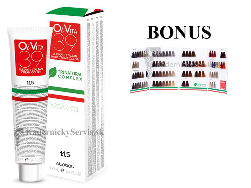 ŠTART 1 : 12 ks OiVita 39 Hair Cream Color - profesionálna hydratačná krémová farba na vlasy, 100 ml + vzorkovník
