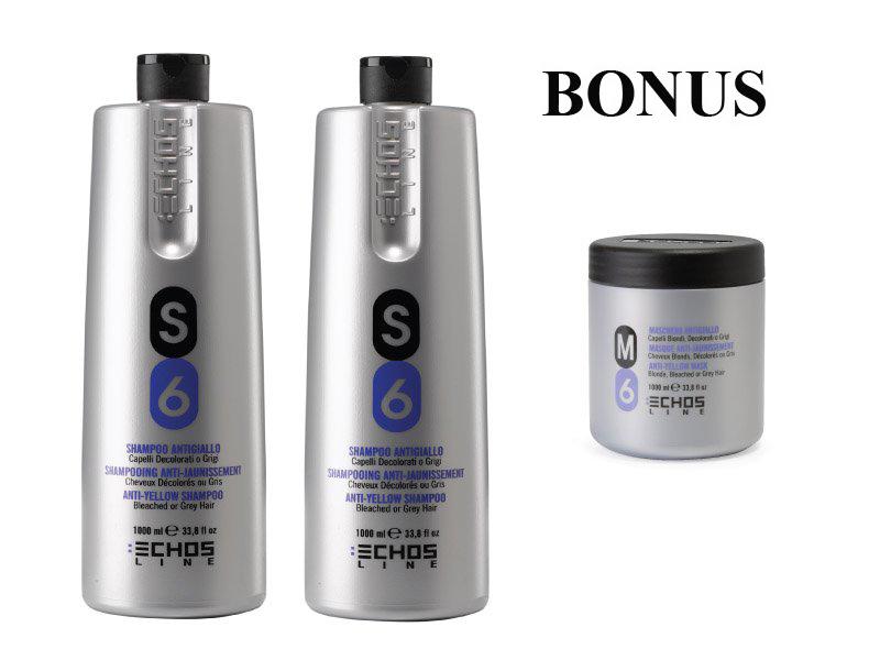 AKCIA: 2x Echosline S6 šampón proti žltnutiu vlasov, 1000 ml + M6 maska na vlasy, 1000 ml