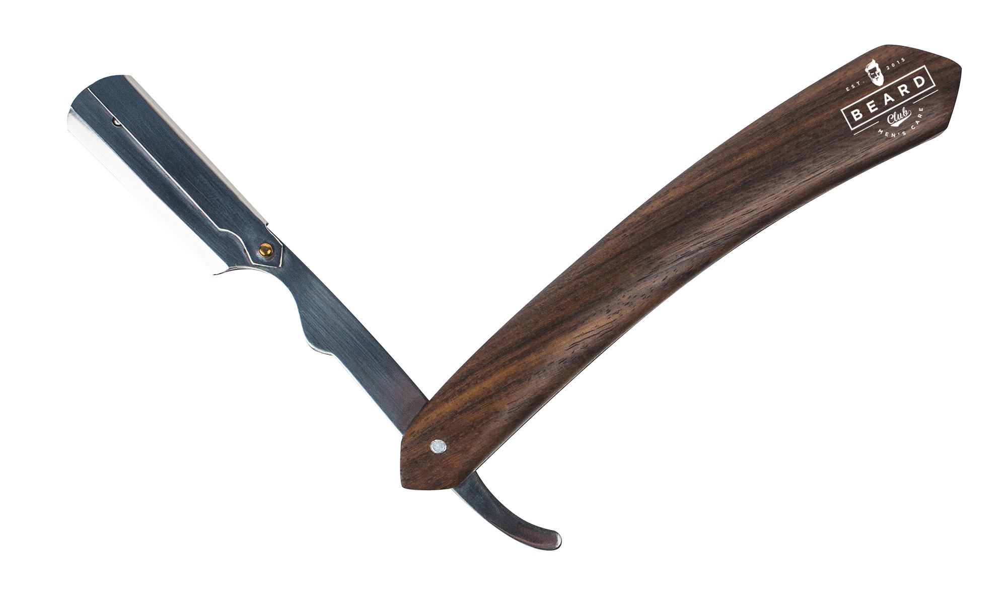 Beard Club Razor 19461 - profesionálna britva s drevenou rukoväťou, polovičná čepeľ