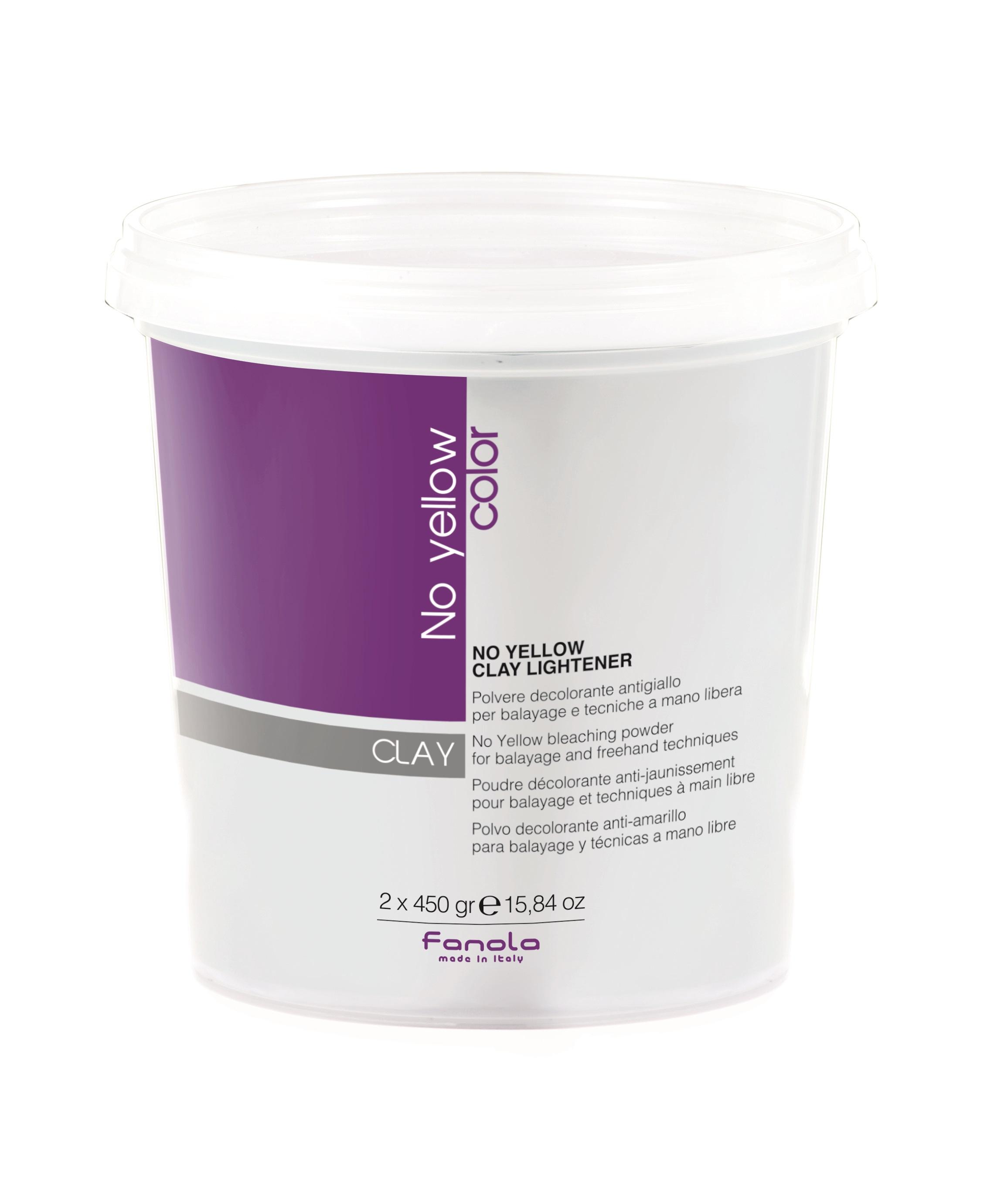 Fanola No Yellow Clay Lightener - odfarbovací prášok s ílom pre baleáž a techniky voľnou rukou, 2 x 450 g