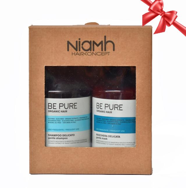 BALÍČEK: Niamh Be Pure Gentle set - šampón pre každodennú starostlivosť o vlasy, 500 ml + maska na každodennú starostlivosť, 500 ml
