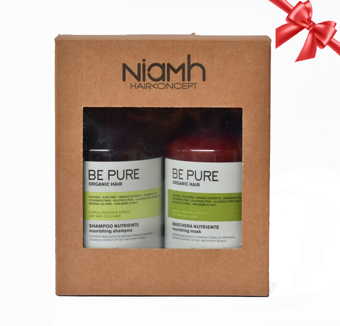 BALÍČEK: Niamh Be Pure Nourishing set - výživný šampón na vlasy, 500 ml + výživná maska na vlasy, 500 ml