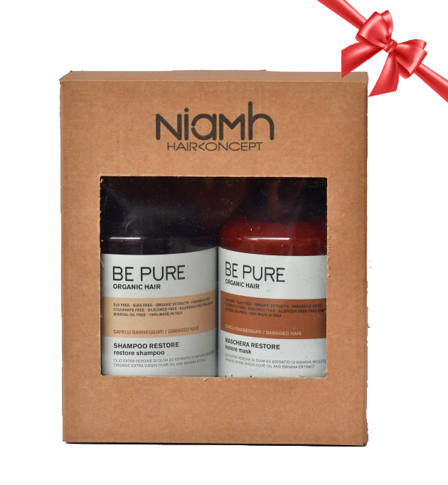 BALÍČEK: Niamh Be Pure Restore set - obnovující šampon na vlasy, 500 ml + obnovující maska, 500 ml