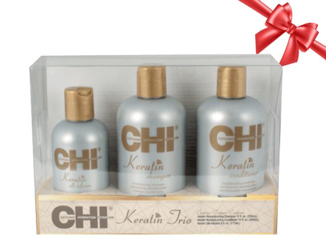 Vánoční balení: CHI Keratin Trio Kit - šampon, 355 ml + kondicionér, 355 ml + rekonstrukční komplex, 177 ml