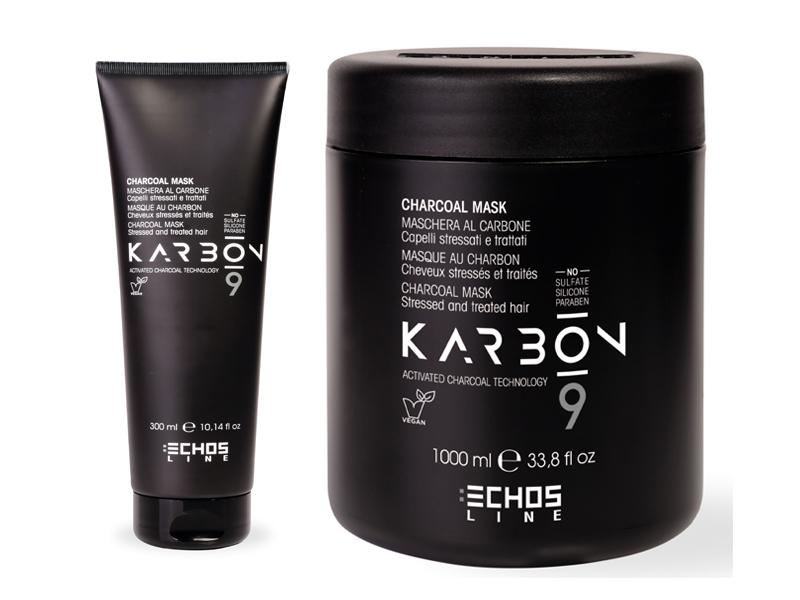Echosline Karbon 9 Mask - maska s aktivním uhlím pro poškozené a chemicky ošetřené vlasy