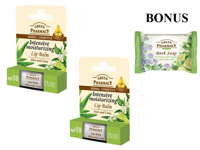 Green Pharmacy 3-Pack - 2x balzám na pery aloe a limetka + mydlo verbena