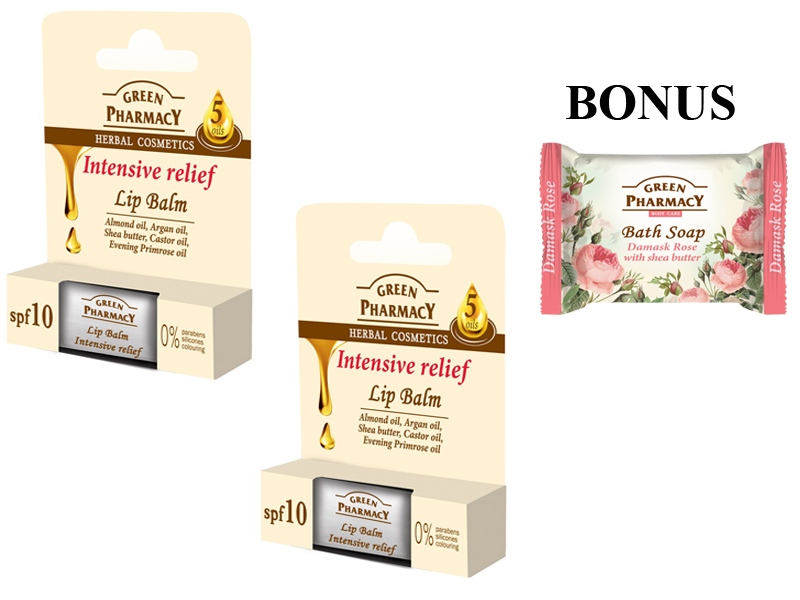 Green Pharmacy 3-Pack - 2x balzám na pery s 5 olejmi + mydlo s damaškovou ružou