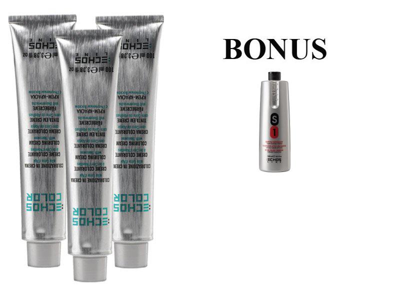 AKCIA: 10 ks ECHOSLINE COLOR prof. krémová farba na vlasy + Šampón S1 1000 ml