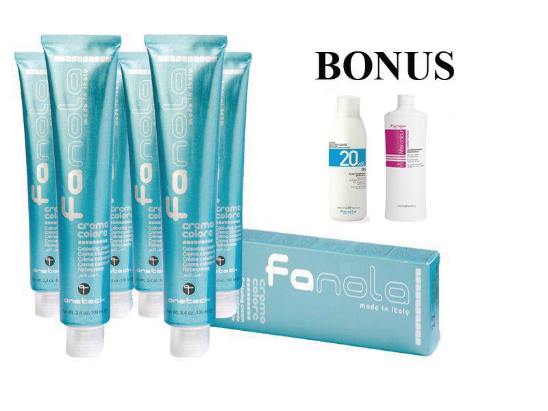 AKCIA: 15 ks Profesionálna farba na vlasy Fanola professional 100 ml + oxidant 6 % 1000 ml + After Colour kondicionér, 1000 ml