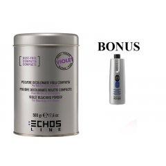 AKCE: ECHOSLINE Polvere decolorant VIOLET compact - fialový, bezprašný melírovací prášek, 500g + oxidant 20 vol 6%, 1000 ml