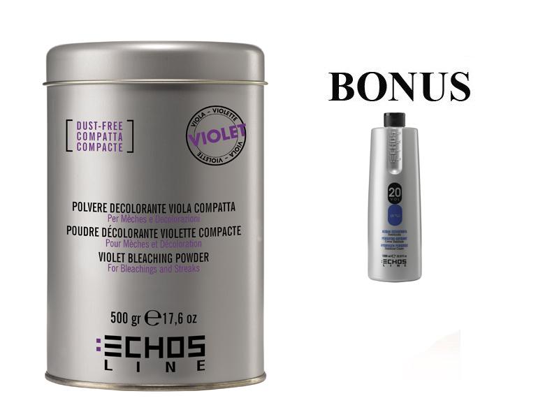 AKCIA: ECHOSLINE Polvere decolorant VIOLET compact - fialový, bezprašný melírovací prášok, 500g + oxidant 20 vol 6%, 1000 ml