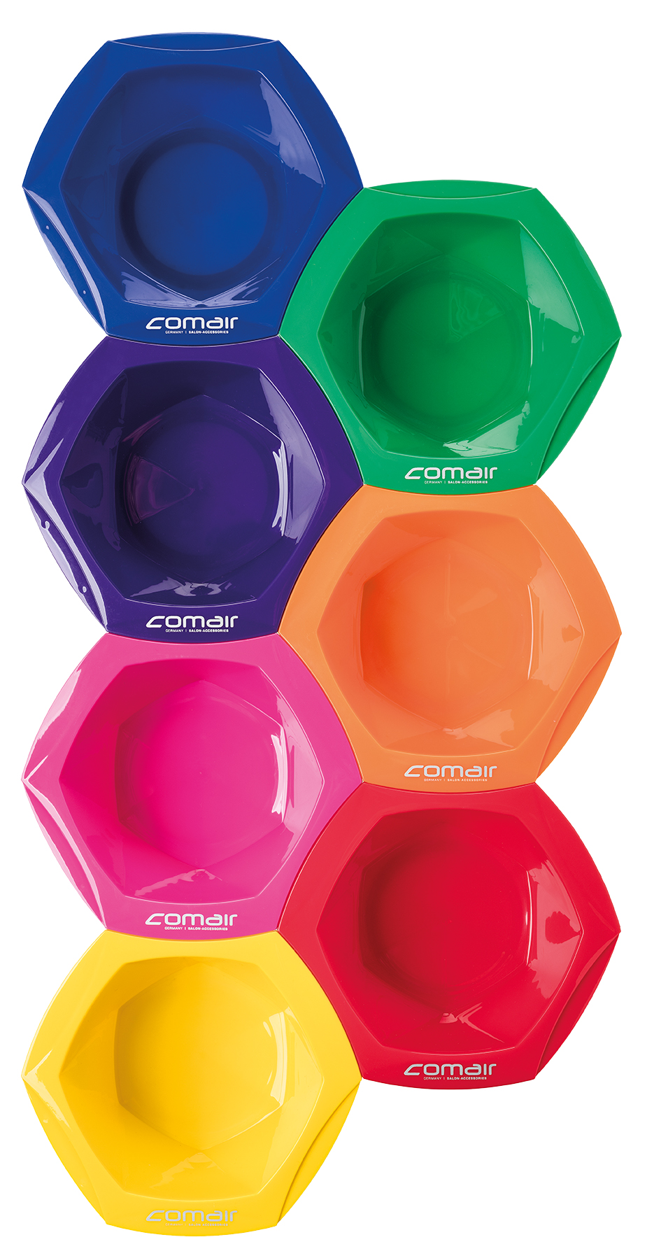 Comair Dyeing bowl Rainbow large 7001285 - sada velkých barevných misek na barvení, 7 ks