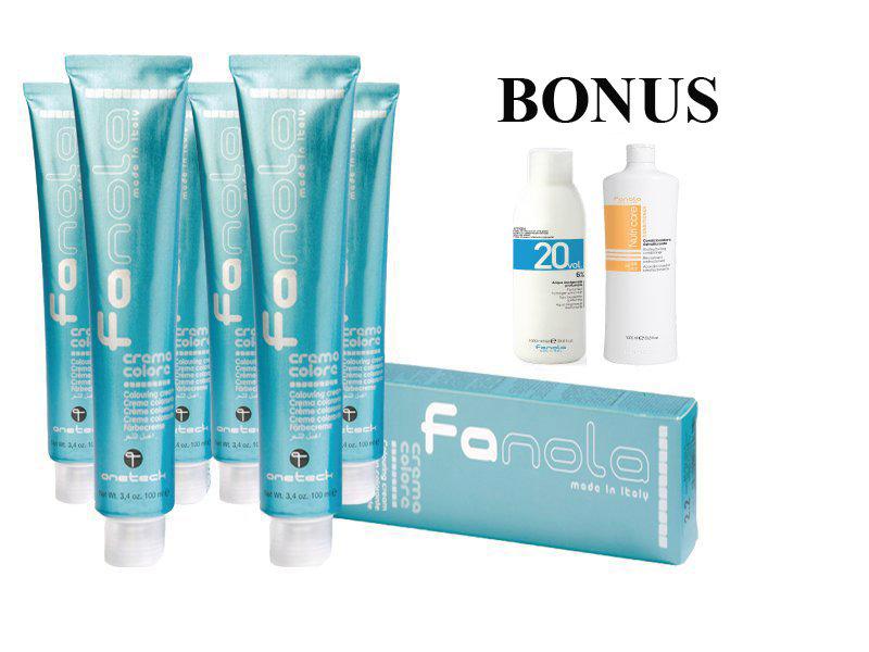 AKCIA: 15 ks Fanola prof. farba na vlasy + oxidant 6%, 1000 ml + Nutri care kondicionér, 1000 ml