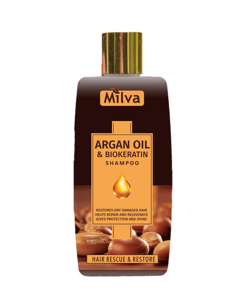 Milva Argan Oil and Biokeratin Shampoo - šampón s argánovým olejom a biokeratínom, 200ml