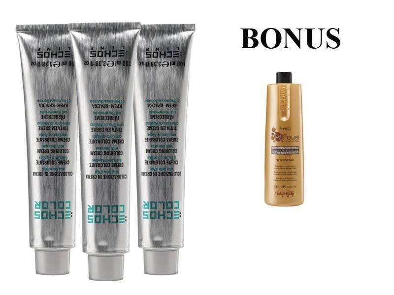 AKCIA: 10 ks ECHOSLINE COLOR prof. krémová farba na vlasy + Ki-Power šampón, 1000 ml