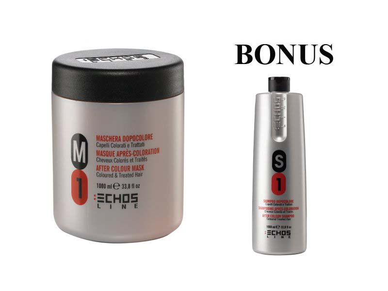 AKCIA: Echosline -  M1 maska na farbené vlasy, 1000 ml + S1 šampón, 1000 ml