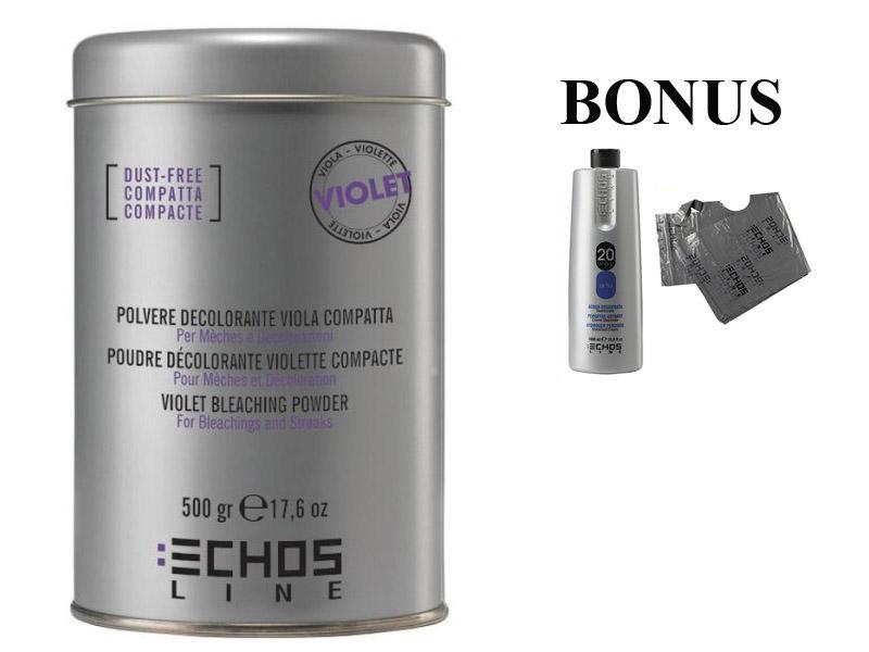 AKCE: ECHOSLINE Polvere decolorant VIOLET compact - fialový, bezprašný melírovací prášek, 500g + oxidant 20 vol 6%, 1000 ml + jednorázové pláštěnky, 30 ks