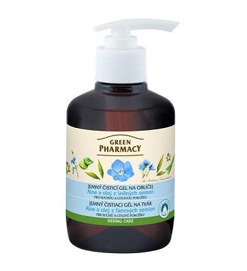 Green Pharmacy Aloe a olej z ľanových semien - jemný čistiaci gél na tvár,  270 ml