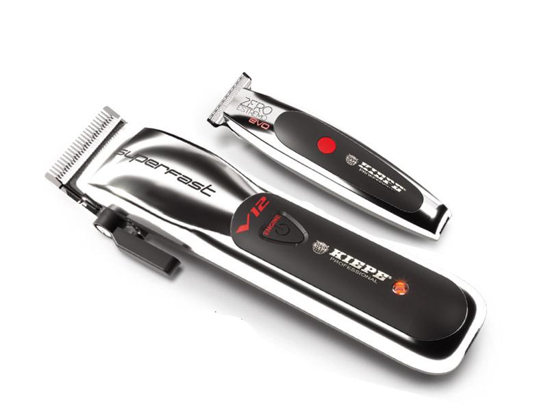 Kiepe Silver set - akumulátorový strojček V12 Superfast Clipper 6335 + akumulátorový kontúrovací strojček Zero Estremo T Hair EVO Trimmer 6330 + Gembird - stlačený vzduch, 400 ml