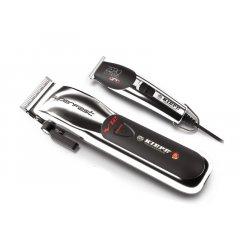 Kiepe Silver set - akumulátorový strojek V12 Superfast Clipper 6335 + konturovací strojek Zero Estremo T Hair Pro Trimmer 6324 + Gembird - stlačený vzduch, 400 ml
