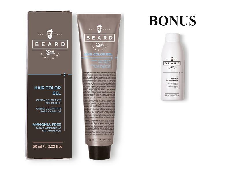 AKCIA: 2 ks Beard Club Hair Color Gel - gélová farba na vlasy pre mužov, 60 ml + Hair Color Activator - aktivátor ku farbám na vlasy pre mužov, 150 ml