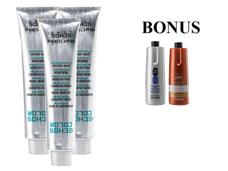 AKCE: 15 ks ECHOSLINE COLOR prof. krémová barva na vlasy + oxidant 6%, 1000 ml + argan šampon, 1000 ml