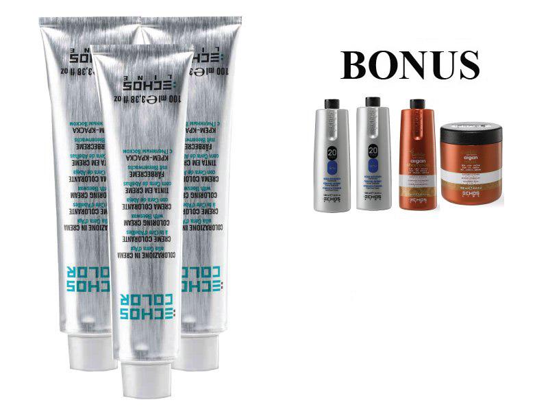 AKCE: 20 ks ECHOSLINE COLOR prof. krémová barva na vlasy + 2x oxidant 6%, 1000 ml + argan šampon, 1000 ml + argan maska, 1000 ml