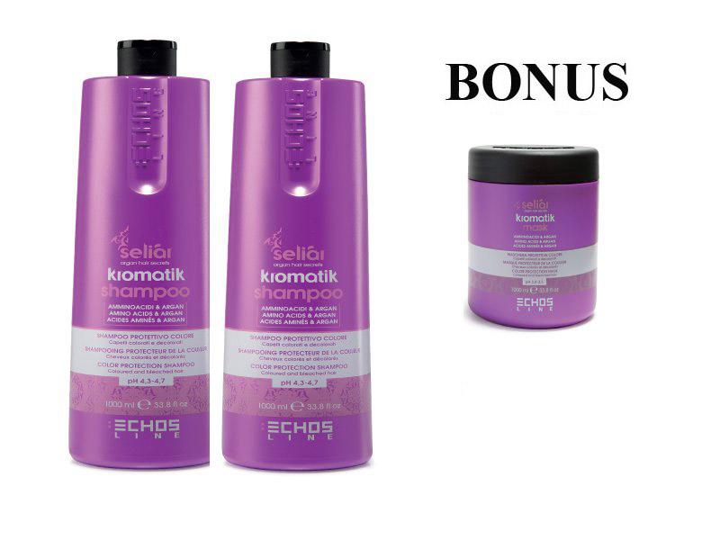 AKCE: 2x Echosline Seliár KROMATIK - ochranný šampon pro barvené a odbarvené vlasy, 1000 ml + KROMATIK maska 1000 ml