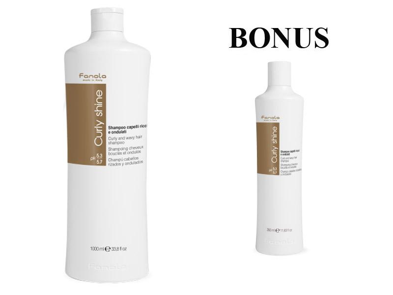 AKCIA: Fanola Curly Shine shampoo - šampón na kučeravé a vlnité vlasy, 1000 ml + šampón, 350 ml
