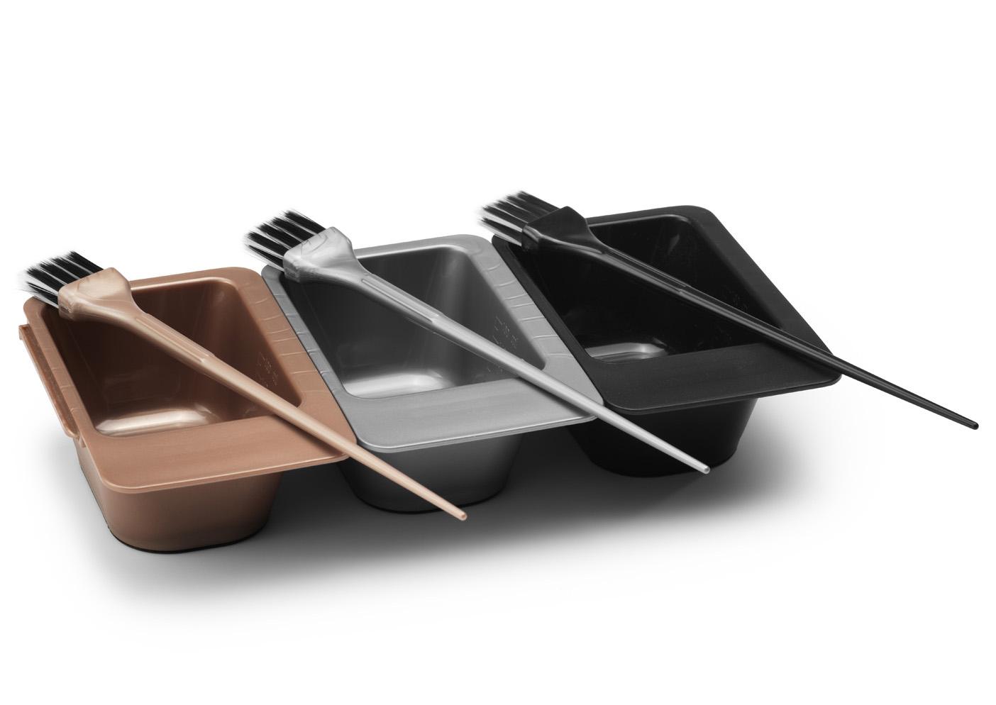 BraveHead 9346 Dye bowl and brush kit - sada tří tónovacích misek a tří štětců