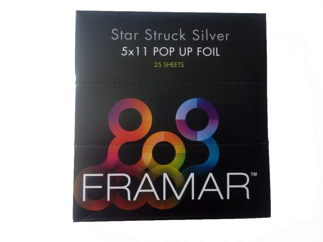 Framar PU-25SIL Star Struck Silver 5x11 - predrezaný strieborný alobal s textúrou, 25 ks