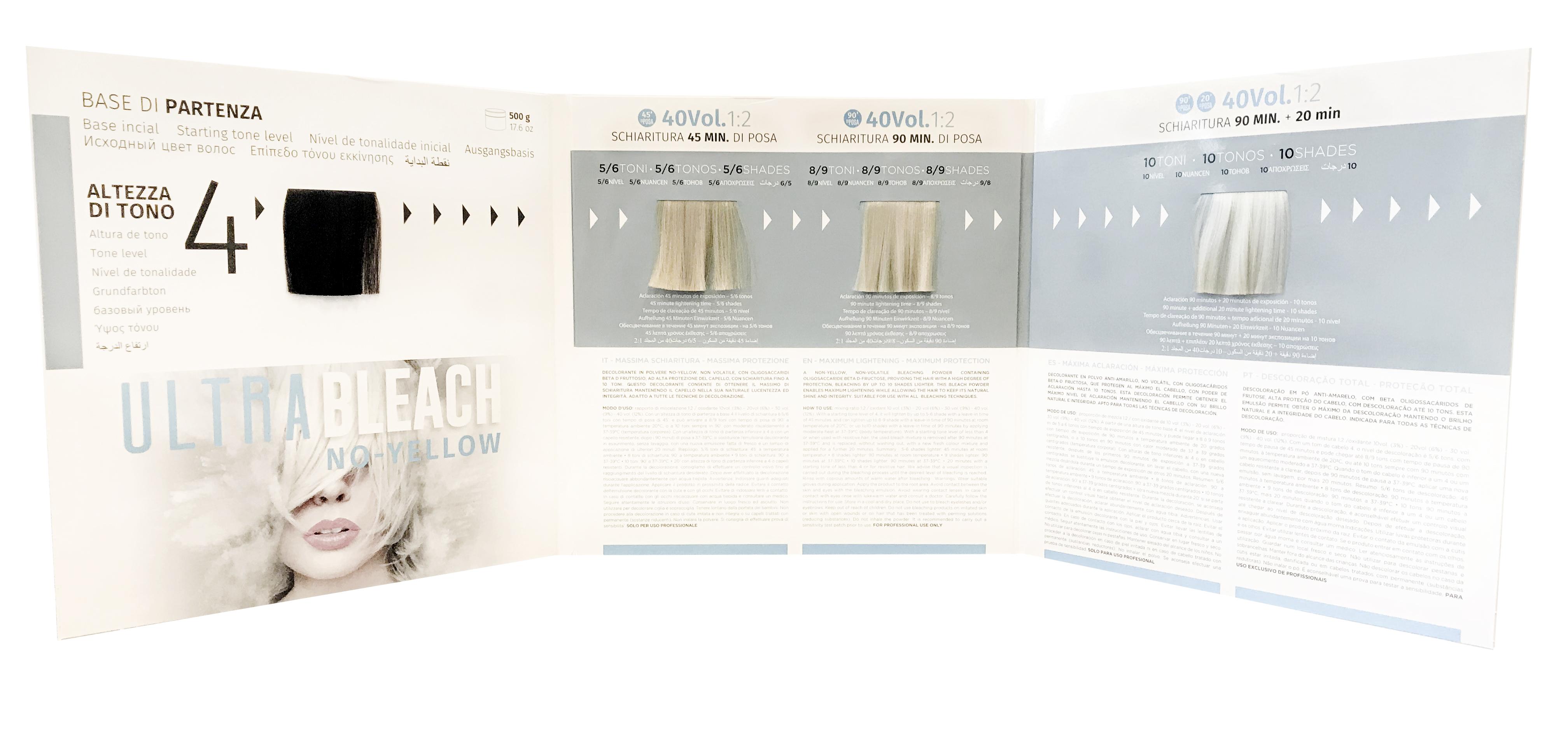 KAY PRO Ultra Bleach No-Yellow 10 Ton - vzorník k melírovacímu prášku