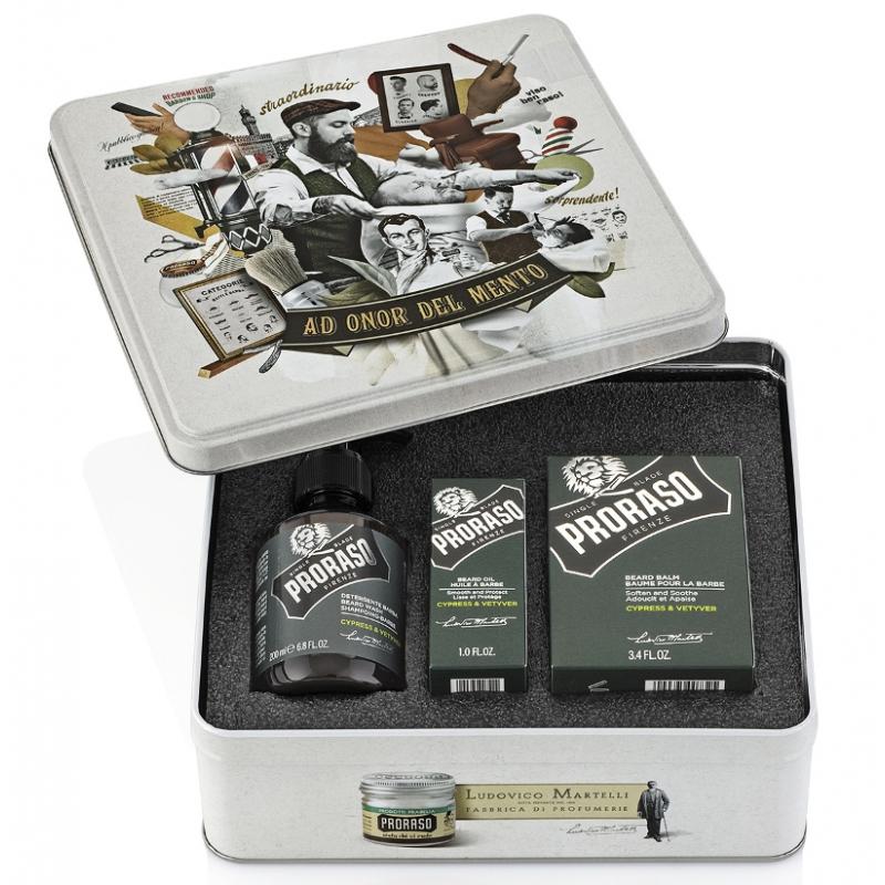 Proraso Komplet Beard Kit Cypress and Vetyver - sada na bradu v plechové krabičce s vůní cypřiše a vetiveru