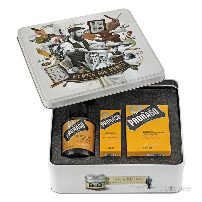 Proraso Komplet Beard Kit Wood and Spice - sada na bradu v plechové krabičce s vůní cedru a koření