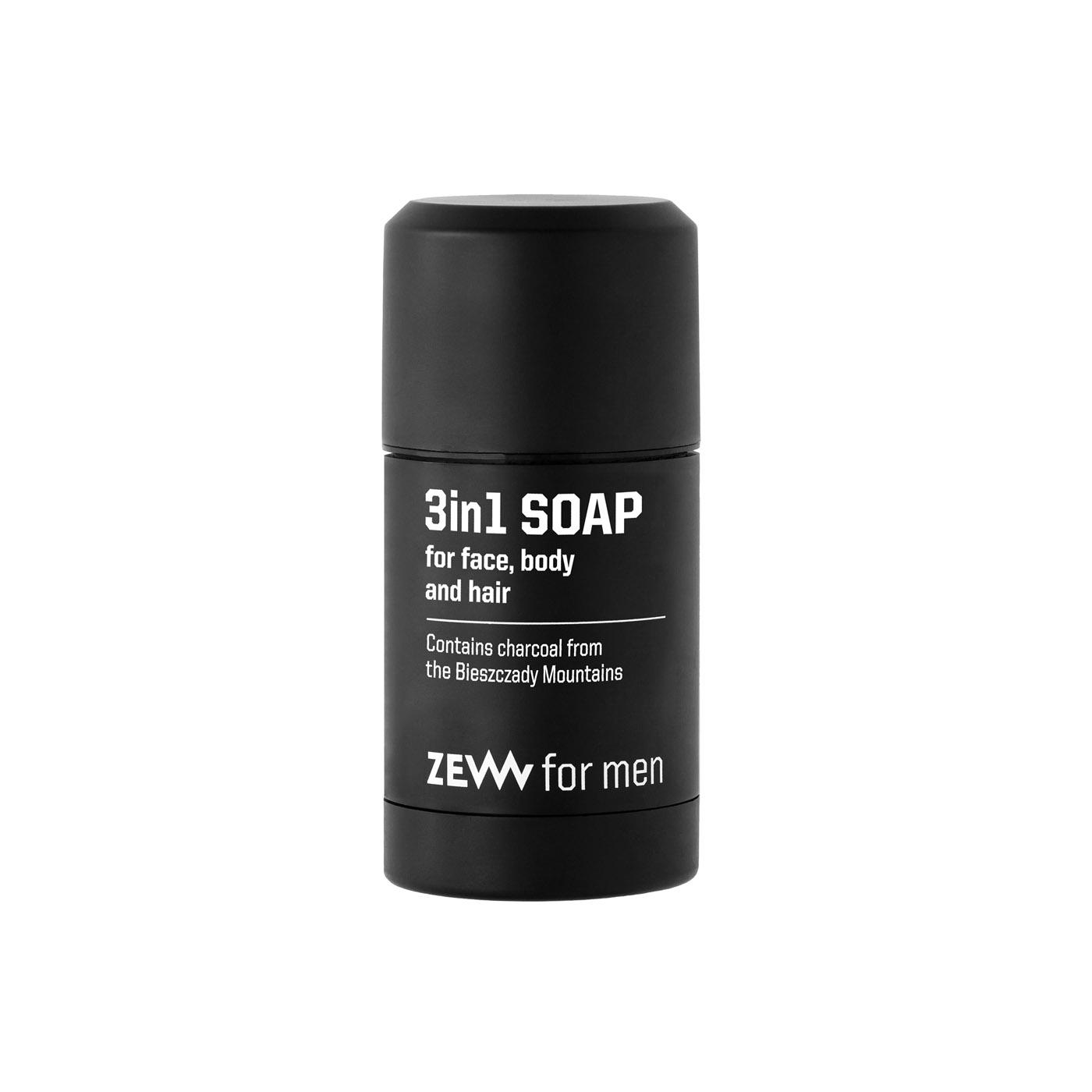 ZEW for men 3 in 1 soap: body, face and hair - mýdlo 3v1 na tělo, obličej a vlasy s dřevěným uhlím, 85 ml + Kapsa M