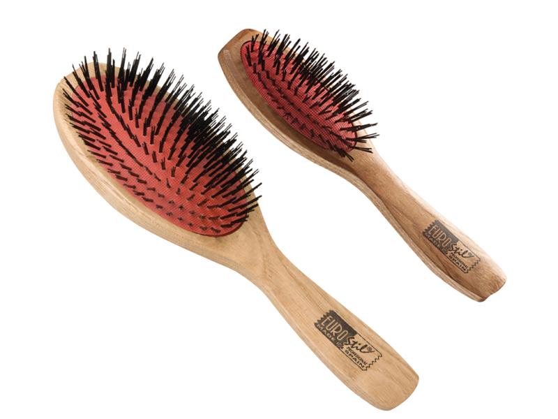 Eurostil Cushion Brush Nylon Wood Handle - kartáče na rozčesávání vlasů