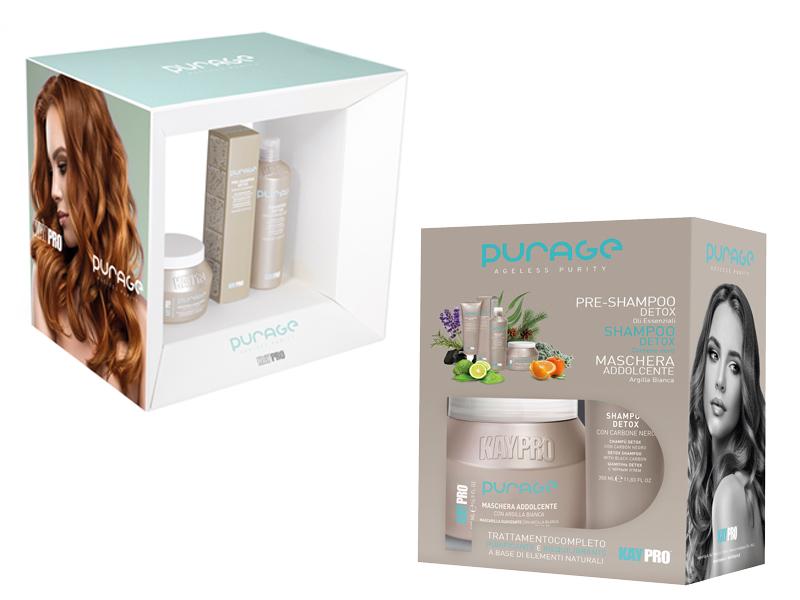 KAYPRO Purage Ageless Purity Kit - detoxikační set na vlasy + KAYPRO Espositore Purage - stojan na produkty