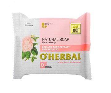 O´Herbal Natural Damask Rose - prírodné mydlo s extraktom damaškovej ruže a červenej hliny, 100 g
