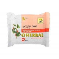 O'Herbal Natural Wild Strawberry - přírodní mýdlo s extraktem lesních jahod a červené hlíny, 100 g
