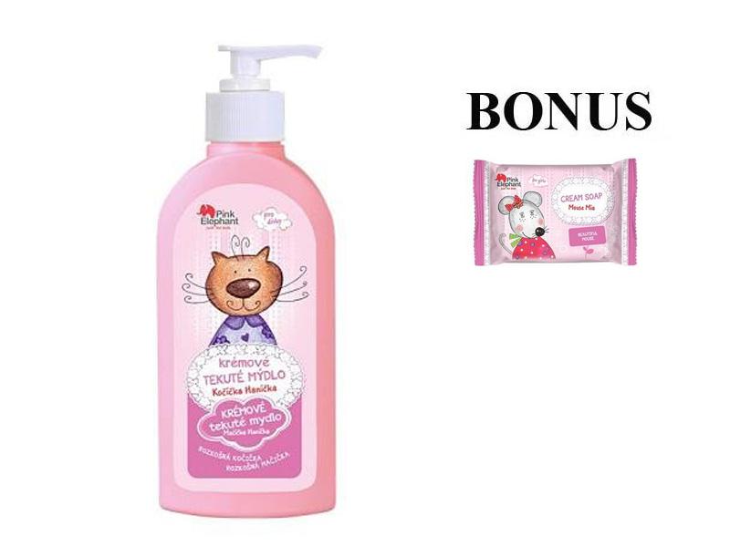 Pink Elephant Mačička Hanička - krémové tekuté mydlo pre dievčatká, 250ml + detské mydlo, 90 g