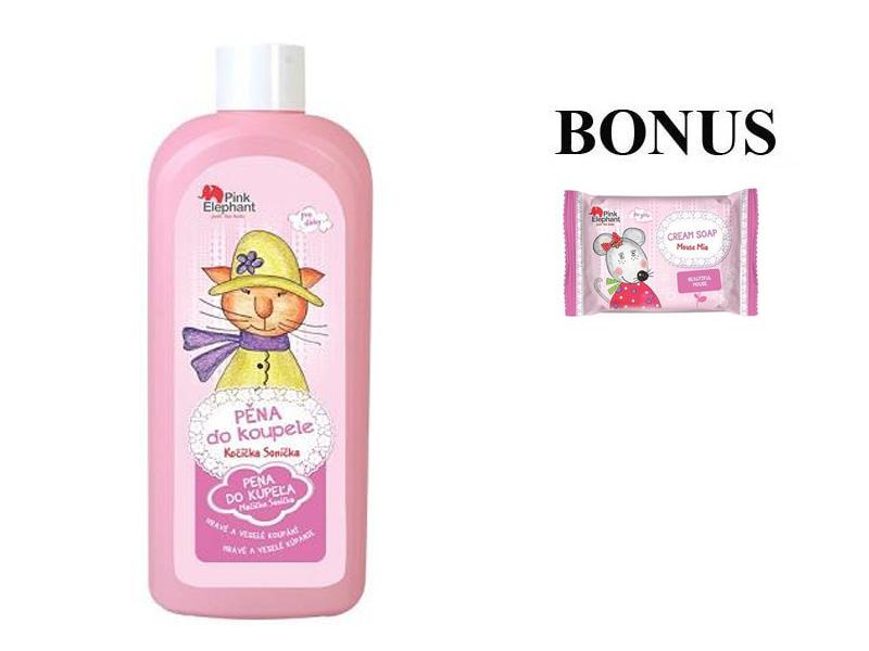 Pink Elephant Mačička Sonička - pena do kúpeľa pre dievčatká, 500 ml + detské mydlo, 90 g