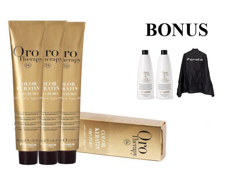 AKCIA: 20 ks Fanola Oro Puro prof. farba na vlasy + 2x Oxidant 20 vol. 6%, 1000 ml + pláštenka Fanola