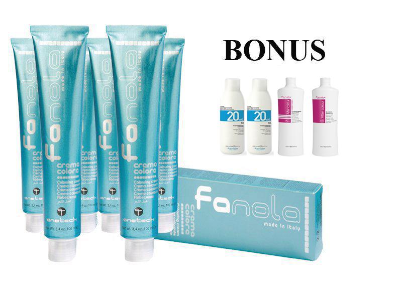 AKCIA: 20 ks Profesionálna farba na vlasy Fanola professional 100 ml + 2x Oxidant 6 % 1000 ml + After Colour šampón, 1000 ml + After Colour kondicionér, 1000 ml