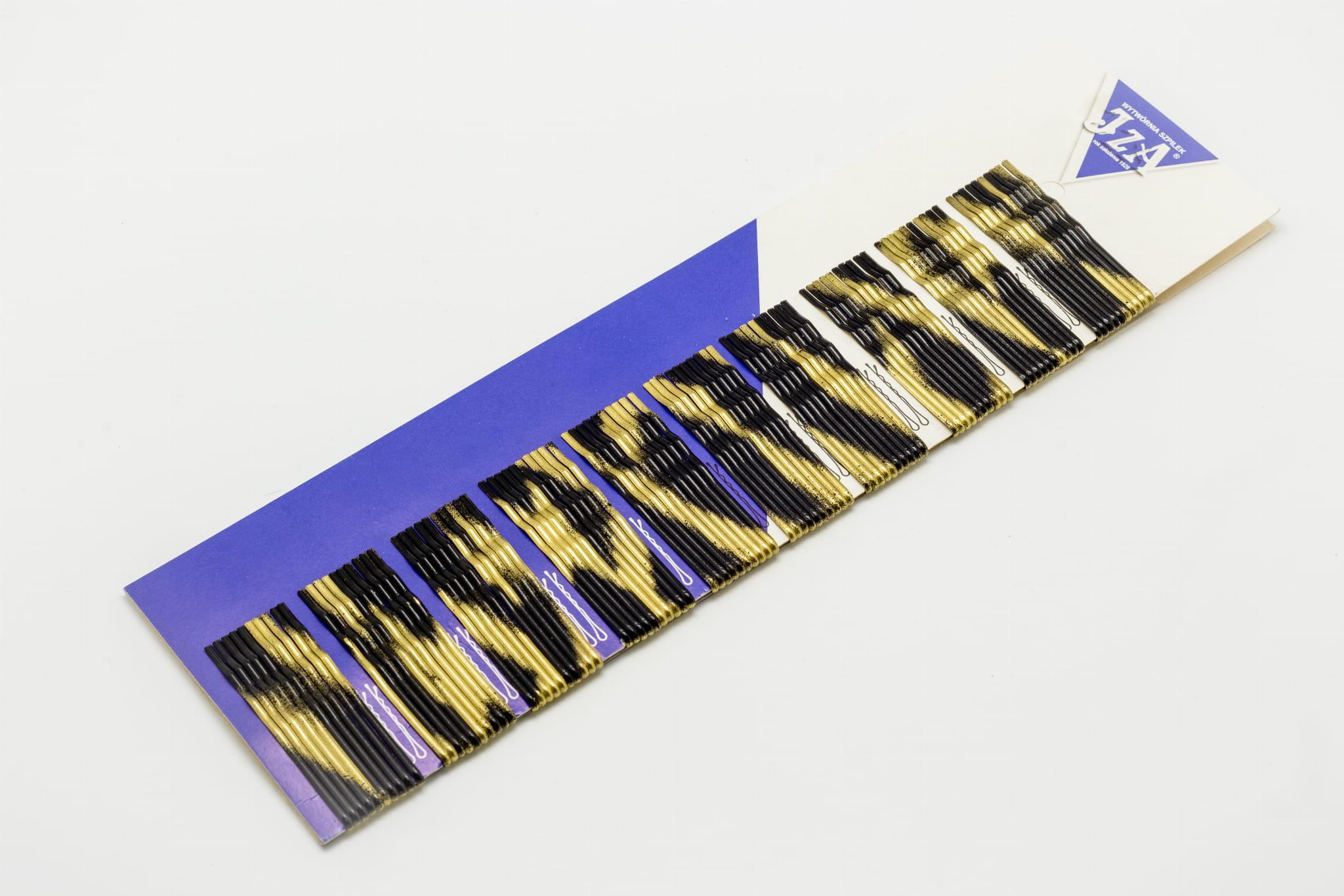 Sponky do vlasov profilované s jednou guličkou 6 cm, farba zlato-čierna, 100 ks