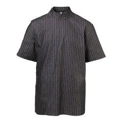 BraveHead Black Pinstriped Barber Jacket - čierna tradičná holičská košeľa
