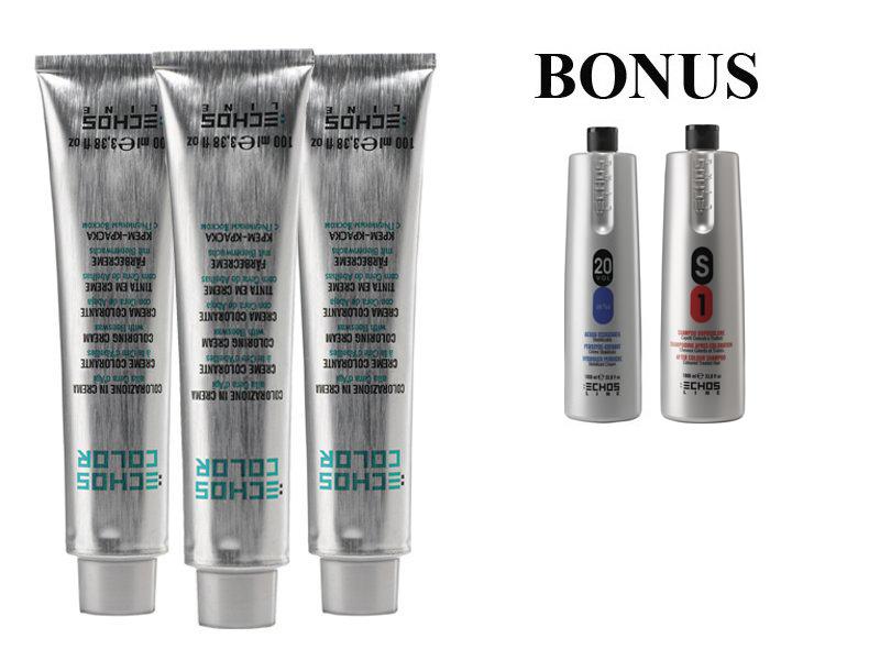 AKCIA: 15 ks ECHOSLINE COLOR prof. krémová farba na vlasy + oxidant 6%, 1000 ml + S1 šampón, 1000 ml