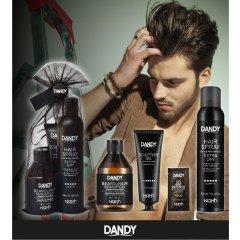 DANDY Gift Bag Styling - šampón, 300 ml + čierny gél 150 ml + silný lak na vlasy, 300 ml + vzorka, 10 ml