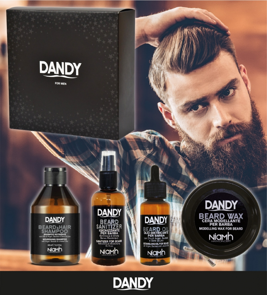 DANDY Gift Box - šampon, 300 ml + sanitizer, 100 ml + olej na bradu, 70 ml + vosk na bradu, 50 ml