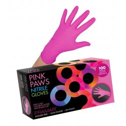 Framar Pink Paws Nitrile Gloves - nitrilové rukavice, ružové